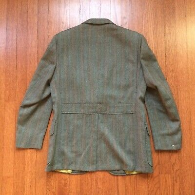 1960s Does 1930s Green Herringbone Belted Back Suit