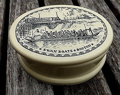 Vintage / Antique Faux Scrimshaw Oval Trinket Box Boston Swan Boats Exc Cond