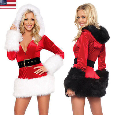 Women Miss/Mrs Santa Claus Christmas Cosplay Costume Hoodie Outfit Fancy Dress