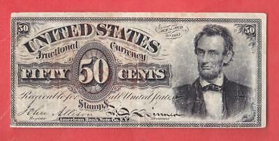 1869-75 50¢ HISTORICAL 'ABRAHAM LINCOLN' U.S. Fractional      x8a