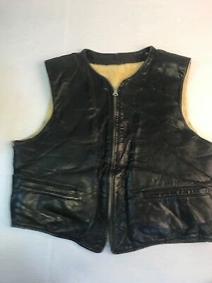 1940s Leather Vest Motorcycle Wool Lining Size M 40 Vintage Antique