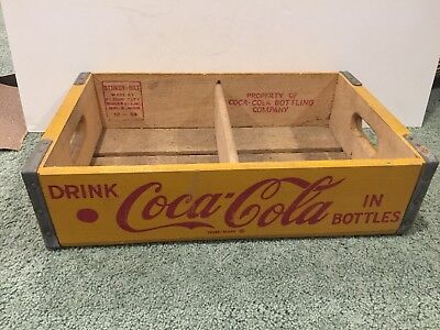 "Vintage COCA-COLA ""Drink Coca-Cola In Bottles"" Wooden Crate Carrier Yellow"