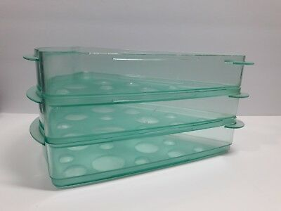 Tupperware Keep N Heat Pizza Slice Keeper Teal Torquoise 3 Piece USA made NO LID