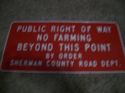 Rare Vintage Metal Farm Sign Sherman County Kansas Farming  Embossed Road Dept