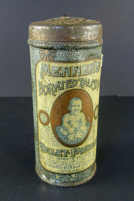 "Vtg Mennen's Borated Talcum Toilet Powder Tin 4"" Collectible Decor"