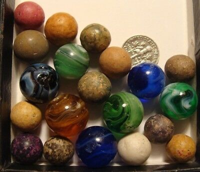 20 Vintage Antique Marbles Clay Old Used Slag Glass Brown Blue Green  Sweet Lot