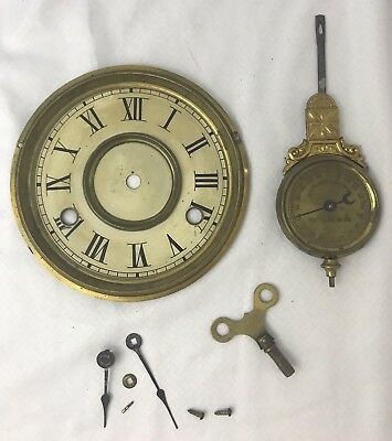 Vtg Antique Ornate Brass Clock Regulator Pendulum Pat. 1881 Clock Face Hands Key