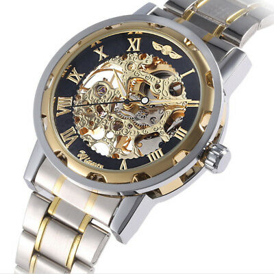 Luxury Gold Dial Mens Skeleton Stainless Steel Mechanical Wrist Watch