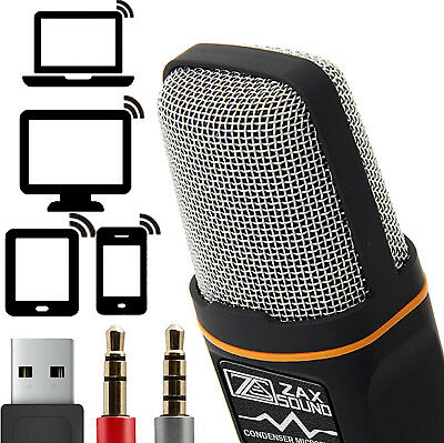 ZaxSound Professional Condenser Microphone For PC Laptop IPhone IPad Android