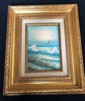 Original Oil Painting Signed by W. Dawson – Seagulls in the Surf