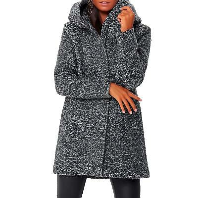 check out 67fba 51222 ONLY DAMEN WOLLMANTEL Mode Winterjacke Mäntel Kapuze Langarm schmal Uni grau