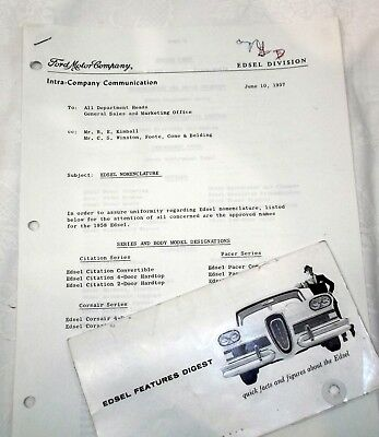 1957 3 Pg Ford Motor Co Memo Re EDSEL Nomenclature For 1958 Models and Parts