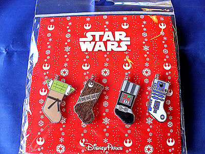 Disney * STAR WARS - HOLIDAY STOCKINGS * New in Pack 4 Pin Booster Set