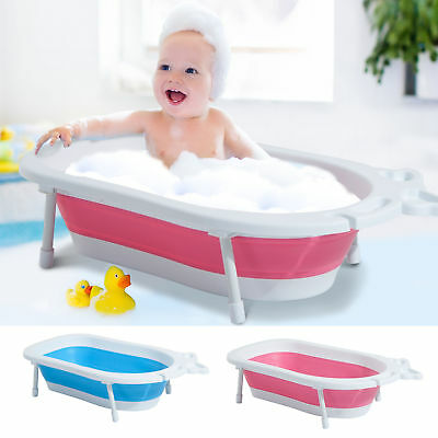 Baby Bath Tub Foldable Toddler Kids Infant Plastic Play Wash Basket Support 30L