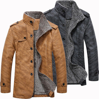 Men Fall Winter PU Jacket Coat Warm Stand Collar Single Breasted Epaulet Design
