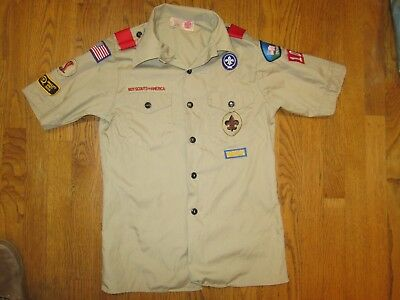 OFFICIAL BOY SCOUTS OF AMERICA SHIRT YOUTH  LARGE Tan SHORT SLEEVE