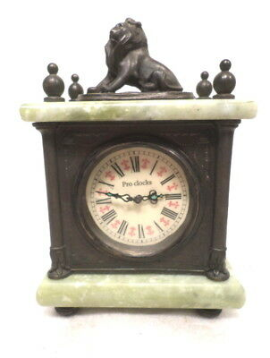 Beautiful Mechanical Lion Topped Onyx/Brass Table Clock by ProClocks