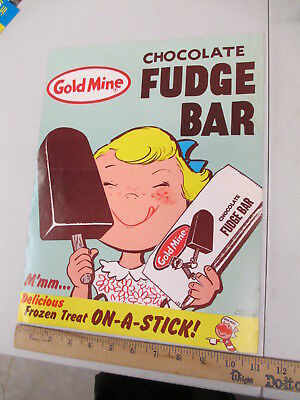 Gold Mine FUDGE BAR cartoon girl 1960s ice cream store display paper poster sign