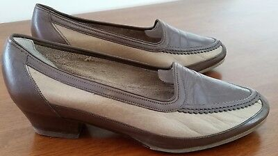 Vintage 80s FOOTREST Leather TAN BROWN Casual Loafer NARELLE SHOES size 7.5 D