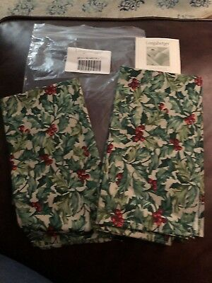 Longaberger American Holly Fabric Christmas NAPKINs 19 X 19 squares Set Of 2 NEW