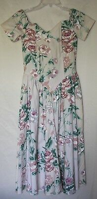 VTG Country Romance Dress Sz 3/4 Floral Pink  Off Shoulder with Boning Mid Calf