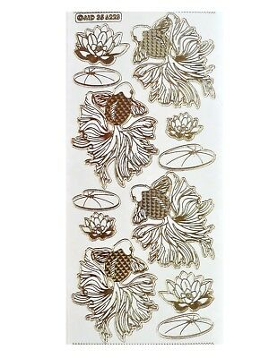 GOLD EMBOSSED GOLD FISH Peel Off Stickers Koi Lilly Pond Japanese Card Making