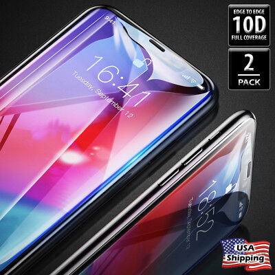 10D FULL COVERAGE Tempered Glass Screen Protector Film for iPhone XS MAX XR X
