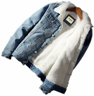 Mens Plus Size Winter Warm Fleece Thick Denim Jacket Coat Outwear