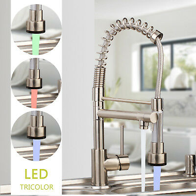 Brushed Nickel LED 360Swivel Pull Out Spray Kitchen Taps 2 Function Mixer Faucet