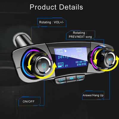 FM Transmitter Aux Modulator Bluetooth Handsfree Car Kit Car Audio MP3 Player