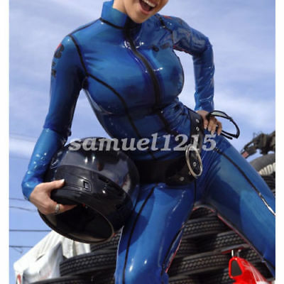 0.4mm Gummi Latex Suit Rubber Sexy Handsome Navy Blue Tights Catsuit Size S-XXL
