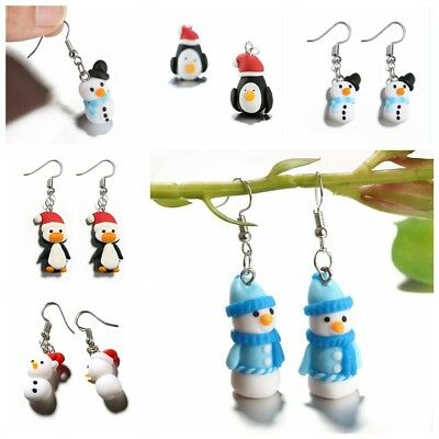 Polymer Clay Christmas Jewelry.Handmade Polymer Clay Soft Christmas Cute Penguin Pattern