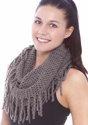 Women Solid Knitted Warm Winter Fringe Infinity Scarf Knit Cable Circle Scarves