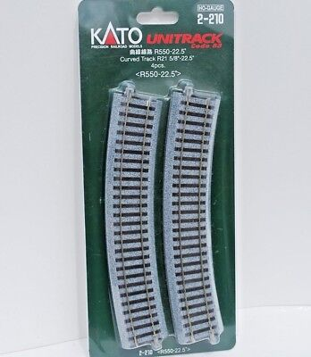 "Kato Unitrack HO Scale 2-210 Curved Track 550 mm [215/8""] Rad. 22.5*. 4 Pk. New."