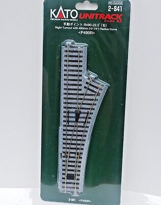 Kato Unitrack HO Scale 2-841 Right Turnout with 490mm R. Curve. New.