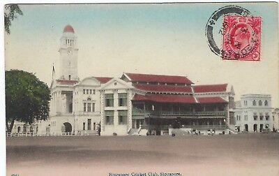 Singapore 1912 colour card of Cricket club used