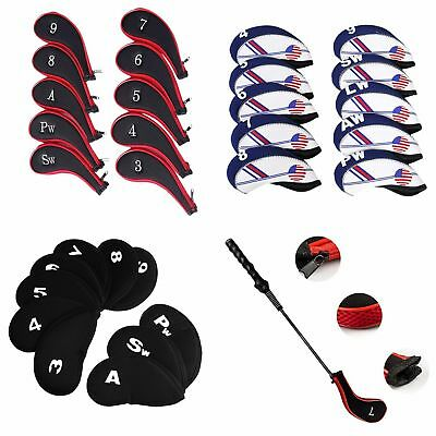 Neoprene Sports Golf Club Iron Head Covers Putter Head Protective Set Case 10Pc