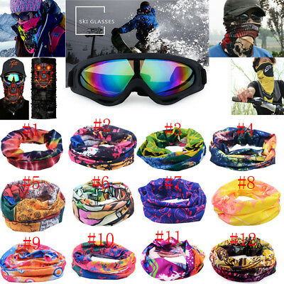 Multi Face Mask Mask Neck Warmer With Ski Snowmobile Goggles Glasses Eyewear