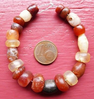 11mm Perles Ancien Afrique Ancient Mali African Neolithic Agate Carnelian Beads