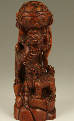 big Rare Chinese Old Boxwood Handmade Carved Lion leo Statue Figure home deco