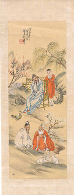 Mid 20th Century Mixed Media - Monks in a Landscape