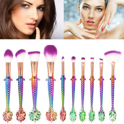 10Pcs Mermaid Make Up Foundation Eye shadow Makeup Brushes Eyeliner Brush