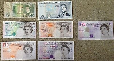 Collection of older style banknotes Bank of England £1, £5 x 2, £10 x 2, £20 x 2