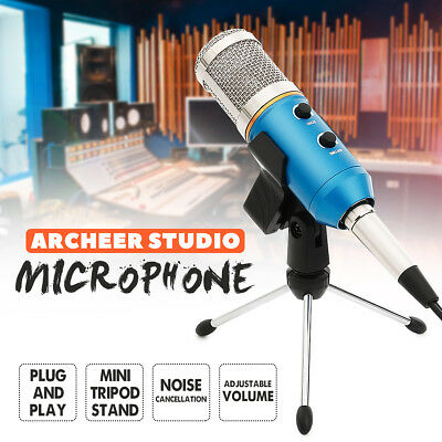 ARCHEER USB Desk Microphone Condenser Tripod Audio Record Studio Sound Broadcast