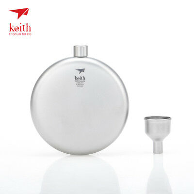 Keith Outdoor Titanium Hip Flask Portable Round Flat Wine Bottle With Funnel