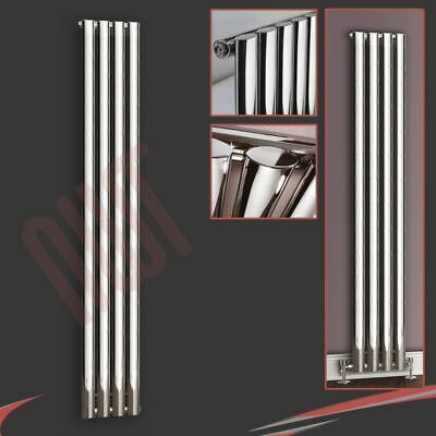 "280mm(w) x 1800mm(h) ""Brecon"" Chrome Vertical Oval Tube Radiator 2200 BTUs"