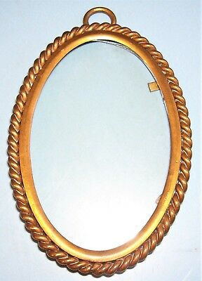 ANTIQUE EDWARDIAN MINIATURE BRASS ROPE TWIST PICTURE FRAME OLD GLASS c.1900