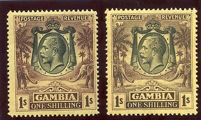 Gambia 1924 KGV 1s in both listed shades superb MNH. SG 134, 134a.