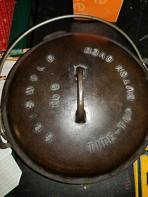 Vintage Cast Iron Griswold No 9 Tiye Top Dutch Oven