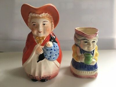 2 Vintage Toby Pitchers - Mrs Gamp Czechoslovakia/Colonial Female Figure Japan